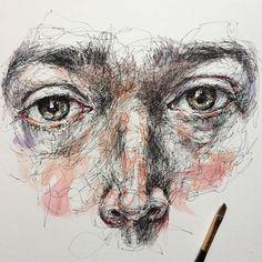 Art And Illustration, Watercolor Illustration, Pen And Watercolor, Watercolor Portraits, A Level Art Sketchbook, Scribble Art, Portfolio, Portrait Art, Art Pictures