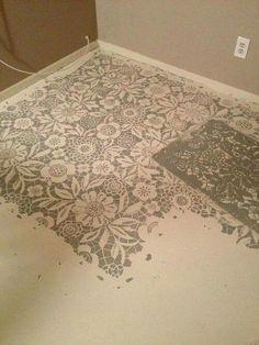 stencilled concrete floor