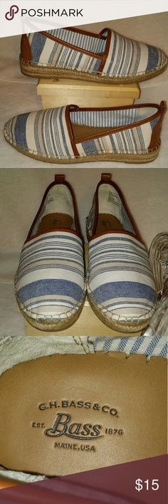 BASS Like new loafers from Bass. The colors of stone washed blue, tan & white makes for a very casual but dressy shoe. SIZE: 8 1/2 M BASS Shoes Flats & Loafers