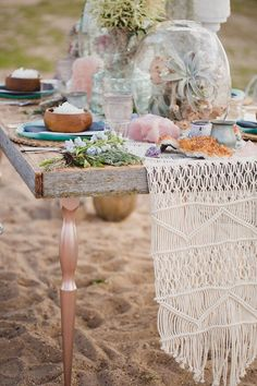 Bohemian Beach Wedding Inspiration, Kristin Zabos Photography, Event Design by Janelle Jamani of Special Event Rentals & Florals by FaBLOOMosity