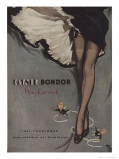 Alluringly lovely vintage Kayser Bondor Nylons ad. #vintage #1950s #stockings #hoisery