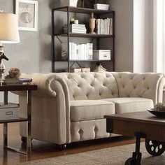 Knightsbridge Beige Linen Tufted Scroll Arm Chesterfield Loveseat by... (2,765 ILS) ❤ liked on Polyvore featuring home, furniture, sofas, brown, off white sofa, beige sofa, linen couch, brown sofa and cream colored sofa