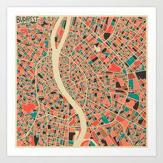 BUDAPEST, HUNGARY MAP Art Print by Jazzberry Blue - $19.00