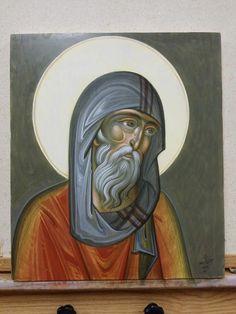 Greece ___by George Kordis . Byzantine Icons, Byzantine Art, Religious Icons, Religious Art, Anthony The Great, Greece Art, Art Icon, Orthodox Icons, Art Techniques