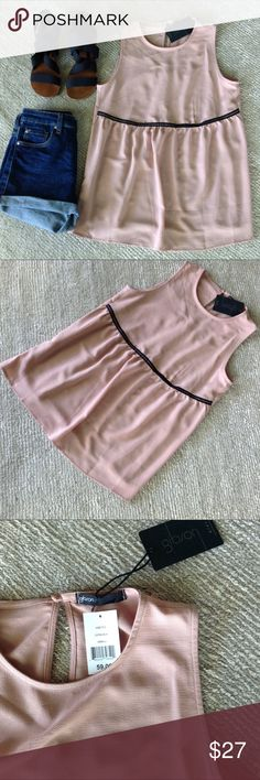 """🎉HOST PICK🎉 NWT Gibson Pink Top HOST PICK """"Best in Tops"""" Party 5/9/17.       NWT Gibson Top. Pink. Sleeveless. One button closure in Back. Black Lace Trim. Just received as a gift.... Too big for me.  It's a size XS but it seems to fit more like a Small to me. Really Cute!  Measures 17.5"""" Armpit to Armpit seam across the front. Gibson Tops Blouses"""