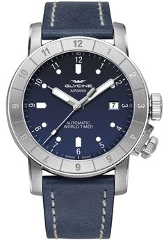 Glycine Watch Airman 42 Double Twelve Pre-Order #add-content #basel-17 #bezel-bidirectional #bracelet-strap-leather #brand-glycine #case-material-steel #case-width-42mm #date-yes #delivery-timescale-call-us #dial-colour-blue #gender-mens #luxury #movement