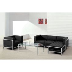 Flash Furniture Hercules Imagination Series Leather 5-piece Sectional and Chair                                                                                                                                                                                 More