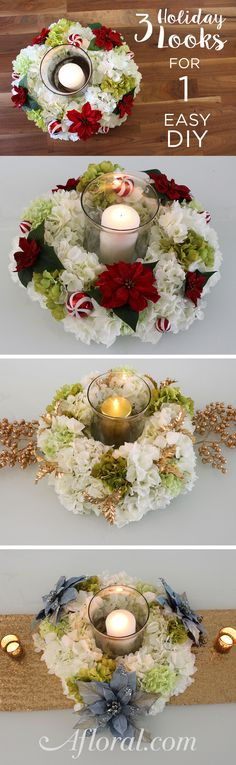 Decorate your winter wedding and holiday tables with this gorgeous hydrangea candle ring.  You can DIY with silk flowers and a wire wreath form from Afloral.com.  After your wedding simple take out the seasonal flowers and add your favorite faux stems for spring, summer and fall.  Or keep it simple with just the hydrangeas.