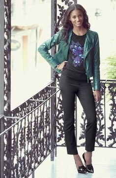 Need this! Emerald Quilted Leather Moto Jacket