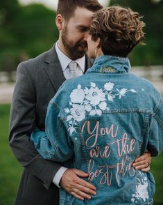 "Fun wedding jean jacket idea - ""You are the best thing"" jean jacket - DearlyThreaded custom embroidered denim bridal jacket, $167, Etsy - See more bridal jackets on WeddingWire! The Knot, Hailey Baldwin, Kim Kardashian, Denim Wedding, Custom Leather Jackets, Bridal Hat, Boyfriend Style, Light Denim, On Your Wedding Day"