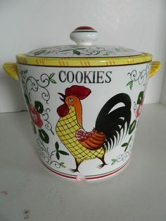 Vintage Ucagco PY Early Provincial Rooster & Roses COOKIE JAR 7 IN TALL