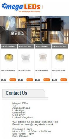 Mega LEDs offers best LED Products like GX53 LED, GU10 LED,  G9 LED & Dimmable LEDs at low cost in all over UK.
