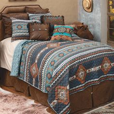 Western Furniture, Furniture Decor, Southwest Bedroom, Western Bedding Sets, Quilt Sets Queen, Black Forest Decor, Leather Pillow, Home Decor Online, Western Decor