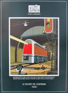 JACOBS . Affiche Blake et Mortimer Le Secret de l'Espadon, 1946