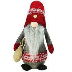 Northlight in. Plush Red and Gray Nordic Santa Christmas Gnome with Burlap Sack Tabletop Figure Christmas Tabletop, Christmas Gnome, Christmas Goodies, Christmas Decorations, Holiday Decor, Christmas Favors, Christmas Art, Holiday Crafts, Holiday Ideas