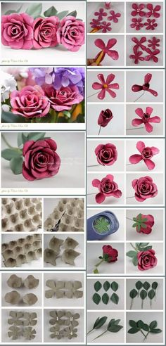 Artesanatos Reciclagem – O mundo do reaproveitamento!: Como fazer flores de reci… Recycling Crafts – The World of Reuse !: How to Make Egg Carton Recycling Flowers Egg Carton Art, Egg Carton Crafts, Egg Crafts, Diy Crafts For Kids, Paper Crafts, Paper Flower Backdrop, Paper Flowers Diy, Flower Crafts, Fabric Flowers