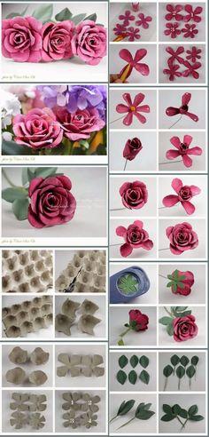 Artesanatos Reciclagem - O mundo do reaproveitamento!: Como fazer flores de reciclagem de caixa de ovos