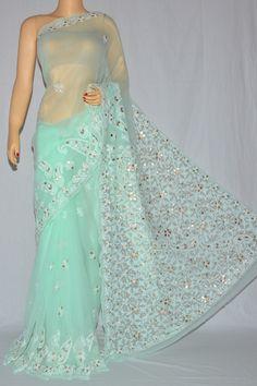 Sea Green Color Gota Patti Hand Embroidered Lucknowi Chikankari Saree (With Blouse - Georgette) MC250096