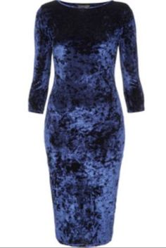 Topshop-Crushed-Velvet-Midi-Bodycon-Dress-Blue-UK-6-8-10-12-14-16-18-BNWOT