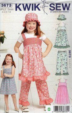 Free Us Ship Sewing Pattern Kwik Sew 3673 Sugar & Spice Girls Ruffle Sun Hat Dress Top Pants Dress Size 4 5 6 7 8 New Out of Print by LanetzLivingPatterns on Etsy