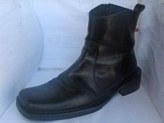 ALDO MENS BLACK LEATHER ANKLE BOOTS SIZE 41/8 ZIPPERED RUSSELLB SHOES #ALDO #AnkleBoots