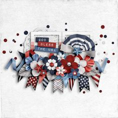 July 2018 Photoless Layout ChallengeAmerican Spirit {Full Kit} American Spirit, My Scrapbook, 4th Of July Wreath, Blessed, Layout, God, Challenge, Dios, Page Layout