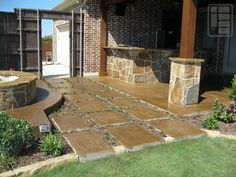 Stamped concrete stepping stones