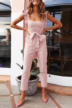 JUSTREDCOCO Fashion Ruffled Square Collar Sling Tied Belt Jumpsuit is part of Jumpsuit fashion - Daily Life Style Casual Gender Women Product no Please Note All dimensions are measured manually with a deviation of 1 to Length Bust Waist Hip inch cm inch Asos Jumpsuit, Jumpsuit Outfit, Pink Jumpsuit, Summer Jumpsuit, Summer Outfits Women, Spring Outfits, Dressy Summer Outfits, Casual Outfits, Unique Outfits