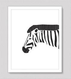 Black and white zebra print, zebra art, animal portrait, modern art decor, black and white wall decor