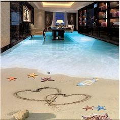 Romantic Heart Prints on the Sandbeach Scenery Home Decorative 3D Floor Murals