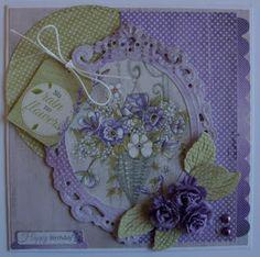 Ik heb nog een kaartje gemaakt met het mooie papierbloc van Joy! La Vie est Belle lavender!  En de leuk sketch van Cheerful Sketches Chellen...