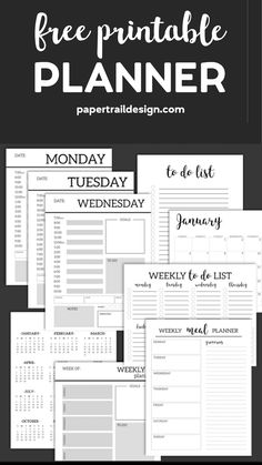 Monthly Planner Template {Printable Planner Pages}. Free printable day planner pages DIY. To do list, menu plan, weekly meal plan, calendar to get organized. # art lesson plan template free printable Monthly Planner Template {Printable Planner Pages}
