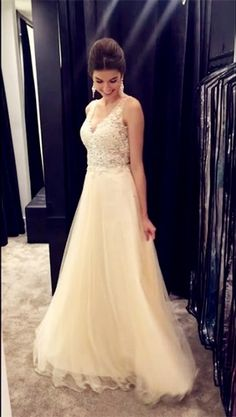Chic Lace Appliques Beaded V Neck Open Back Long Champagne Prom Dresses 2017,Long Prom Dresses - Thumbnail 2