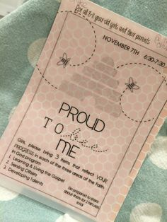 Activity Day Idea- Proud to BEE me. review of girls