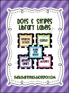 Editable Library Labels Stripes and Dots from ThinkShareTeach on TeachersNotebook.com (158 pages)  - 120 colorful book basket labels with matching book labels for your classroom library, plus blank labels to customize