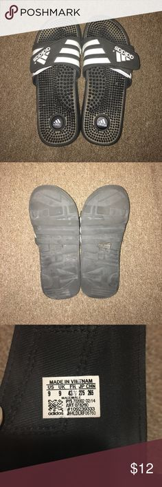US-9 Adidas Adissage Slides Gently Worn adidas Shoes Loafers & Slip-Ons