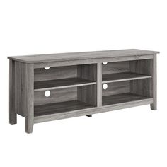 WE Furniture Wood TV Stand, 58-Inch, Driftwood