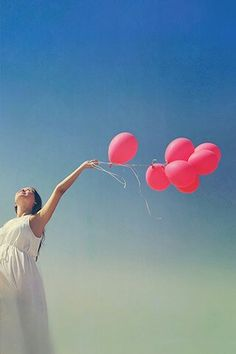 Photo Wallpaper from LINE DECO #girl #balloons #sky #pink #blue #homescreen #background