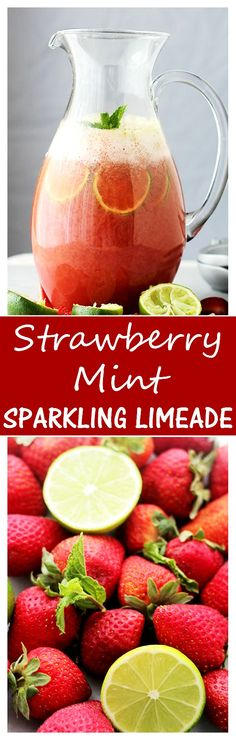 Strawberry-Mint Sparkling Limeade Strawberry-Mint Sparkling Limeade diethood A sparkling mocktail made with the refreshing summer flavors of strawberries mint and lime. Cocktails, Non Alcoholic Drinks, Party Drinks, Cocktail Drinks, Fun Drinks, Healthy Drinks, Healthy Foods, Smoothies, Smoothie Drinks