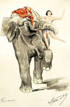 "Vintage poster.  ""Elephant Girl."""
