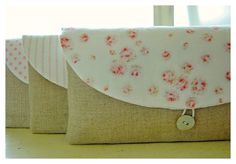 Shabby Linen clutch Mix Roses bag purse Set 3 by hoganfe on Etsy,