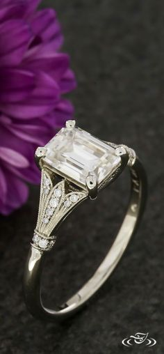 Emerald Cut Floral Vintage Style Engagement Ring. Green Lake Jewelry 125450