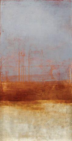 "Pauline Ziegen paintings   Karan Ruhlen Gallery Santa Fe Contemporary Fine Art. ON A WINTERS SUNDAY, 48 x 24"", OIL, GOLD LEAF, MIXED MEDIA ON PANEL:"