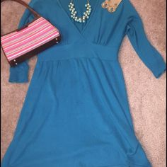 Cerulean Blue Year-Round Sweater Dress Cerulean Blue light sweater dress with 3/4 sleeves. Perfect for work and after work Happy Hours! Wear day-to-night! Purse also being sold. Bundle and save! Express Dresses