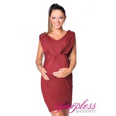 Stunning Sleeveless V Neck Maternity Dress 8437 Burgundy Create a super flattering silhouette with this simple yet elegant sleeveless maternity dress. Delicate v-neckline, detailed ruched front gives you truly romantic and  feminine look. The dress is perfect for casual and formal events, parties, days out with family and friends or hot dinner dates.