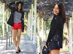 Mango Blazer, Dkny Top, Cotton On Shorts, Cotton On Loafers, Brixton Bowler Hat | La Vie en Rose (by Patricia Prieto) | LOOKBOOK.nu