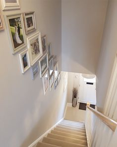 Cleaning and tidying the house with a hangover in preparation for another round of drink tonight is NOT the one! Worth it though! Stair Photo Walls, Stair Walls, Carpet Stairs, Staircase Wall Decor, House Staircase, Landing Decor, Creating An Entryway, Hallway Inspiration, Hallway Ideas