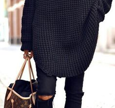 Oversized black knit sweater and black ripped jeans & Louis Vuitton bag