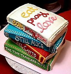 book cake for book club, brilliant! Now all I need is a book club ! Fancy Cakes, Cute Cakes, Yummy Cakes, Beautiful Cakes, Amazing Cakes, Book Club Parties, Foto Pastel, Just In Case, Just For You
