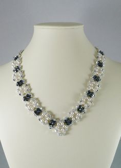 Swarovski Necklace Pearl and Gunmetal V Shaped by IndulgedGirl,